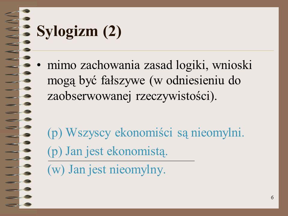 6 Sylogizm (2) mimo zachowania zasad logiki, wnioski mogą być fałszywe (w odniesieniu do zaobserwowanej rzeczywistości).