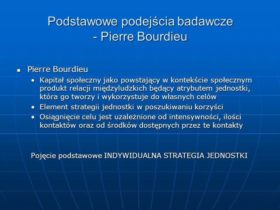Podstawowe podejścia badawcze - Pierre Bourdieu Pierre Bourdieu Pierre Bourdieu Kapitał społeczny jako powstający w kontekście społecznym produkt rela