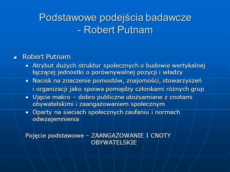 Podstawowe podejścia badawcze - Robert Putnam Robert Putnam Robert Putnam Atrybut dużych struktur społecznych o budowie wertykalnej łączącej jednostki