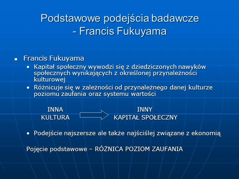 Francis Fukuyama Francis Fukuyama Kapitał społeczny wywodzi się z dziedziczonych nawyków społecznych wynikających z określonej przynależności kulturow