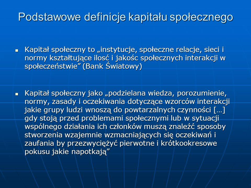 Podstawowe definicje kapitału społecznego Kapitał społeczny to instytucje, społeczne relacje, sieci i normy kształtujące ilosć i jakośc społecznych in