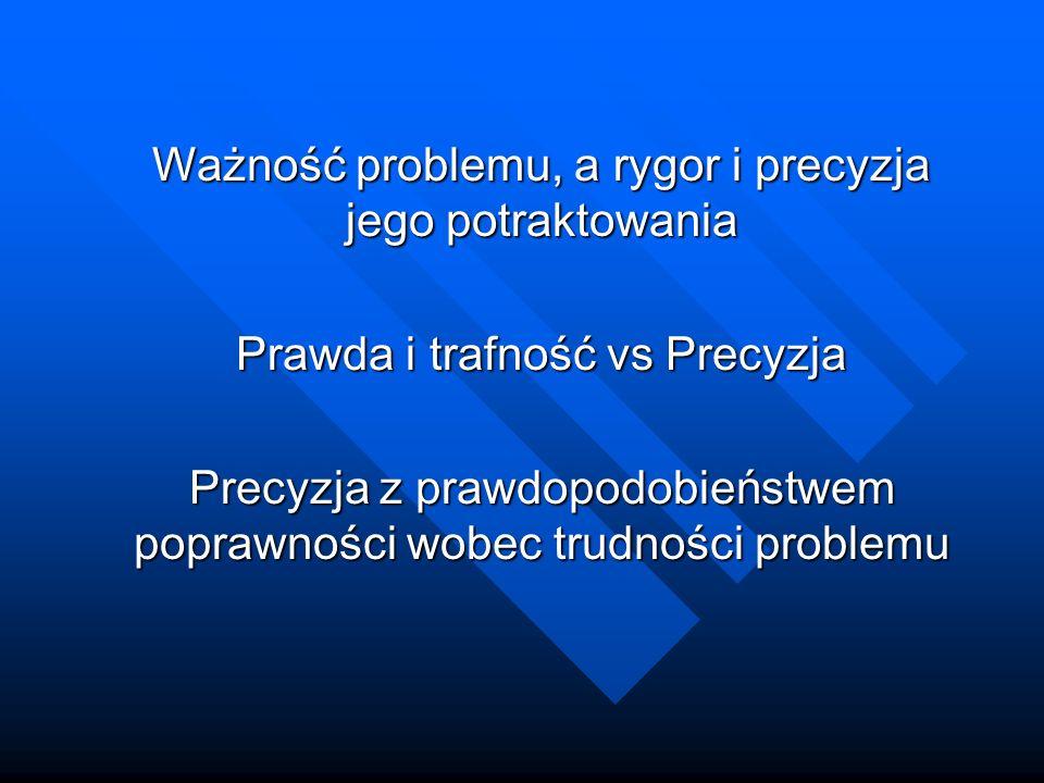 Ważność problemu, a rygor i precyzja jego potraktowania Prawda i trafność vs Precyzja Precyzja z prawdopodobieństwem poprawności wobec trudności problemu