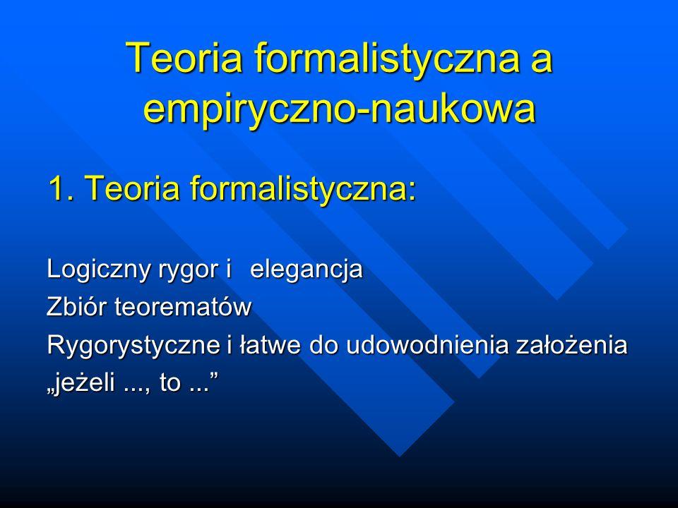 Teoria formalistyczna a empiryczno-naukowa 1.