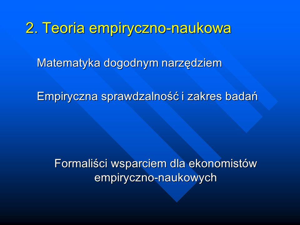 2. Teoria empiryczno-naukowa Matematyka dogodnym narzędziem Empiryczna sprawdzalność i zakres badań Formaliści wsparciem dla ekonomistów empiryczno-na
