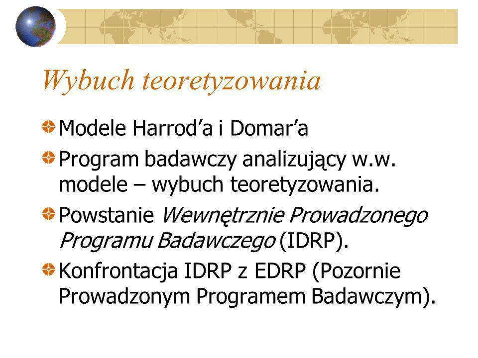 Wybuch teoretyzowania Modele Harroda i Domara Program badawczy analizujący w.w. modele – wybuch teoretyzowania. Powstanie Wewnętrznie Prowadzonego Pro