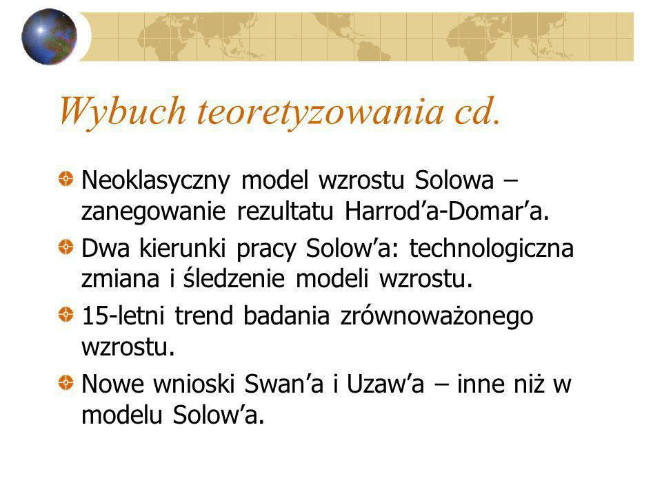 Wybuch teoretyzowania cd. Neoklasyczny model wzrostu Solowa – zanegowanie rezultatu Harroda-Domara. Dwa kierunki pracy Solowa: technologiczna zmiana i