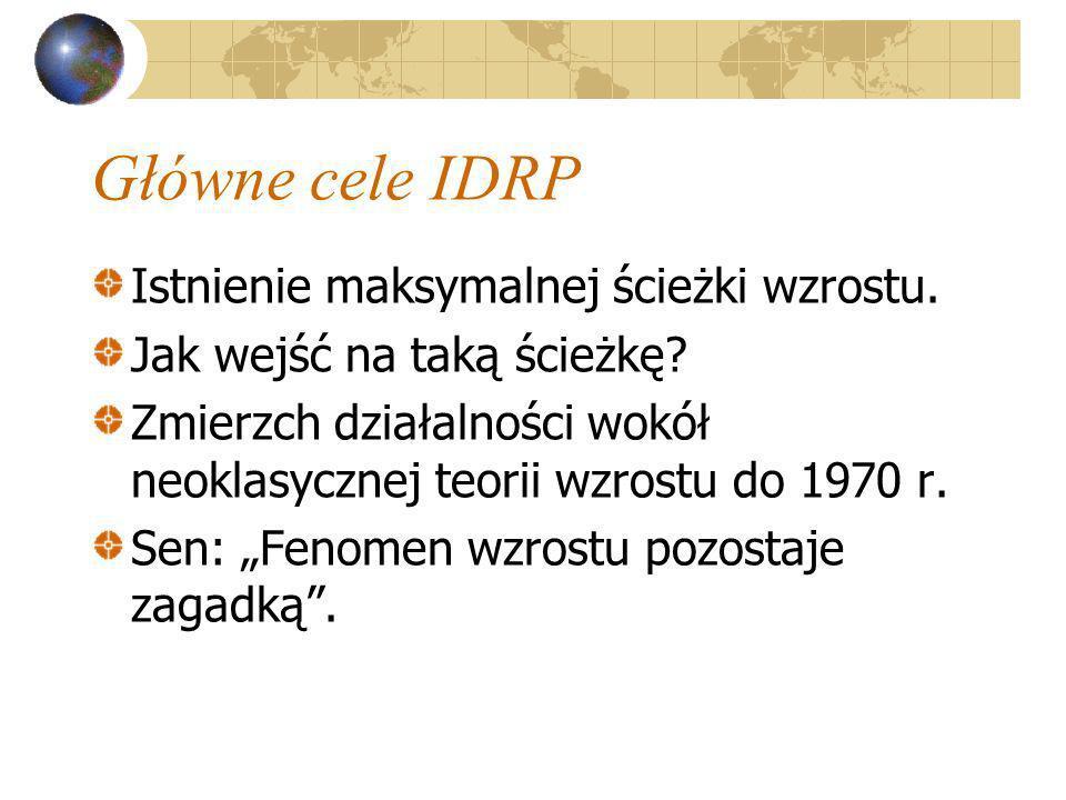 Główne cele IDRP Istnienie maksymalnej ścieżki wzrostu. Jak wejść na taką ścieżkę? Zmierzch działalności wokół neoklasycznej teorii wzrostu do 1970 r.