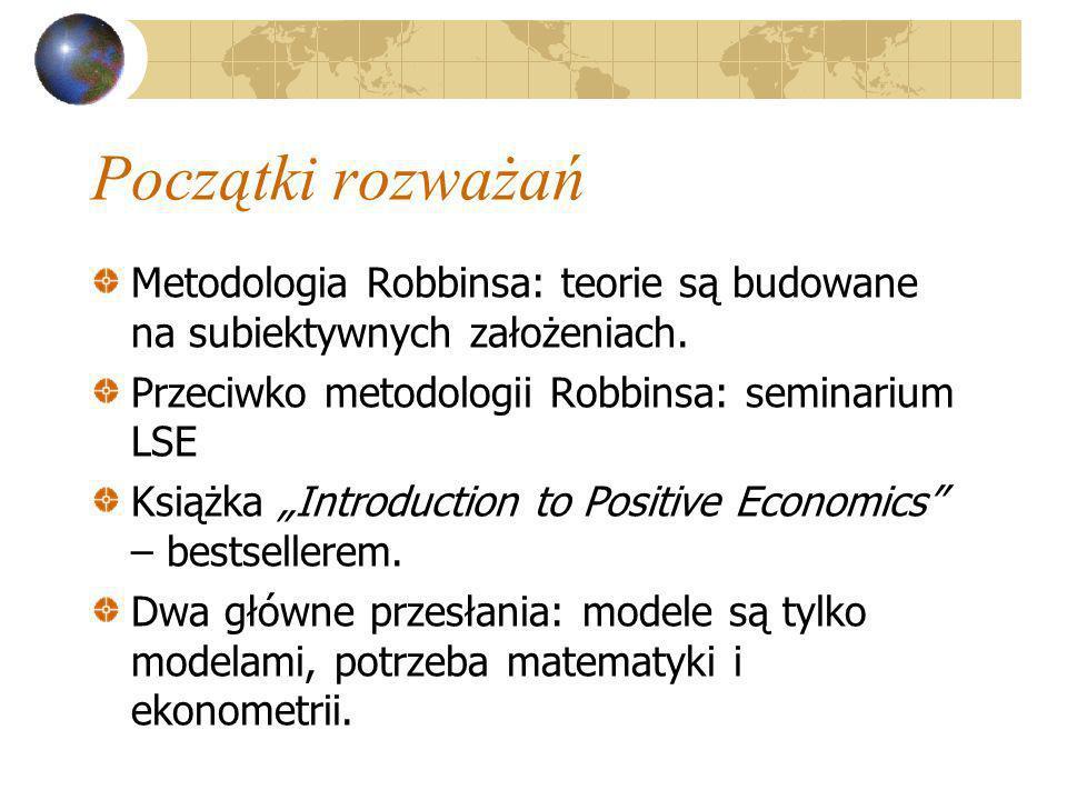 Początki rozważań Metodologia Robbinsa: teorie są budowane na subiektywnych założeniach. Przeciwko metodologii Robbinsa: seminarium LSE Książka Introd