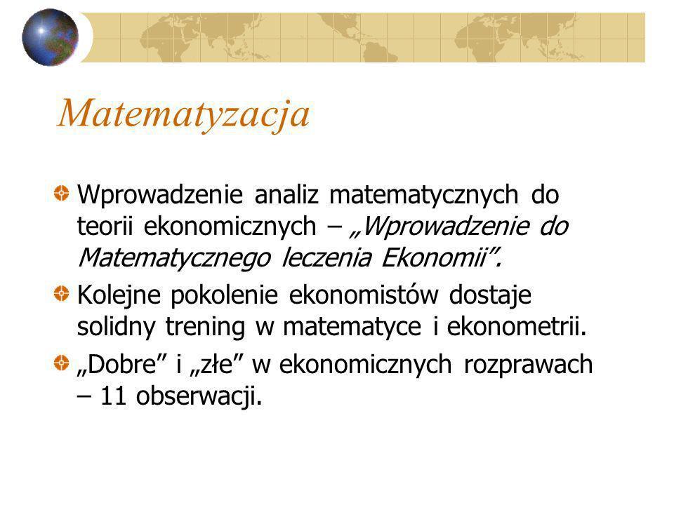 Matematyzacja Wprowadzenie analiz matematycznych do teorii ekonomicznych – Wprowadzenie do Matematycznego leczenia Ekonomii. Kolejne pokolenie ekonomi