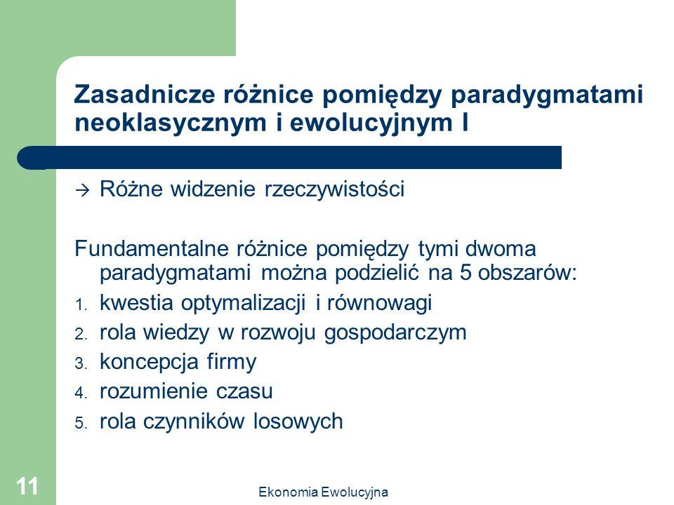 Ekonomia Ewolucyjna 11 Zasadnicze różnice pomiędzy paradygmatami neoklasycznym i ewolucyjnym I Różne widzenie rzeczywistości Fundamentalne różnice pom