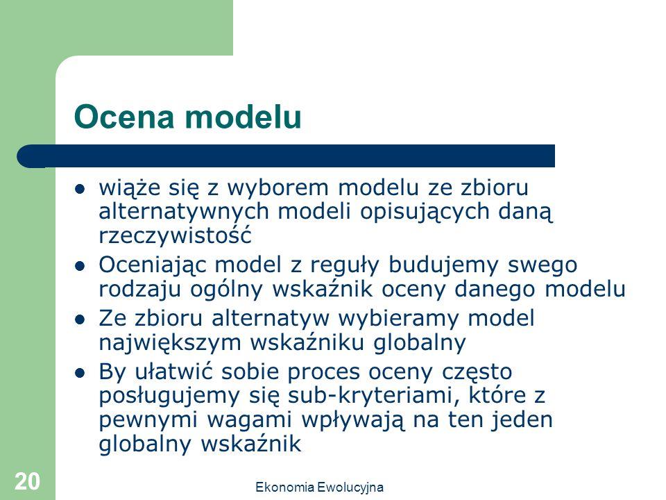Ekonomia Ewolucyjna 20 Ocena modelu wiąże się z wyborem modelu ze zbioru alternatywnych modeli opisujących daną rzeczywistość Oceniając model z reguły
