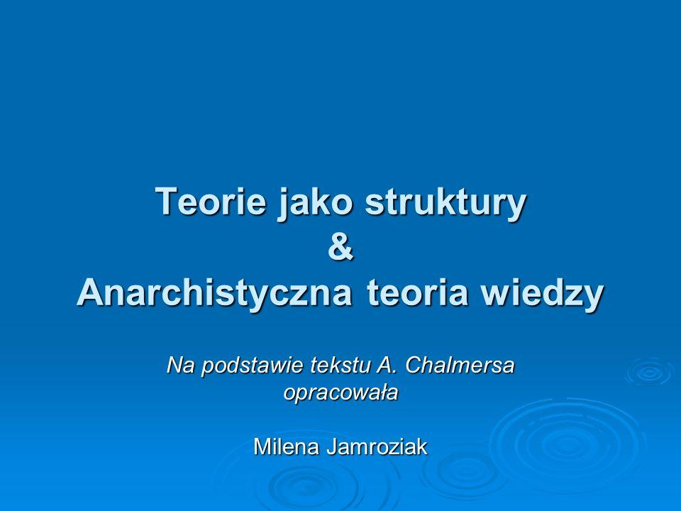 Teorie jako struktury & Anarchistyczna teoria wiedzy Na podstawie tekstu A. Chalmersa opracowała Milena Jamroziak