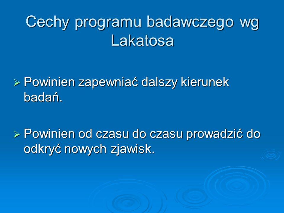 Cechy programu badawczego wg Lakatosa Powinien zapewniać dalszy kierunek badań. Powinien zapewniać dalszy kierunek badań. Powinien od czasu do czasu p