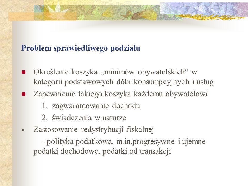 Problem sprawiedliwego podziału Określenie koszyka minimów obywatelskich w kategorii podstawowych dóbr konsumpcyjnych i usług Zapewnienie takiego koszyka każdemu obywatelowi 1.