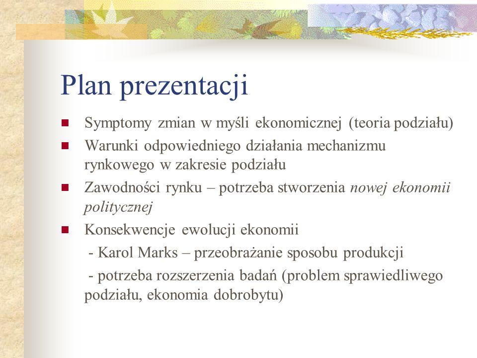 Plan prezentacji Symptomy zmian w myśli ekonomicznej (teoria podziału) Warunki odpowiedniego działania mechanizmu rynkowego w zakresie podziału Zawodn