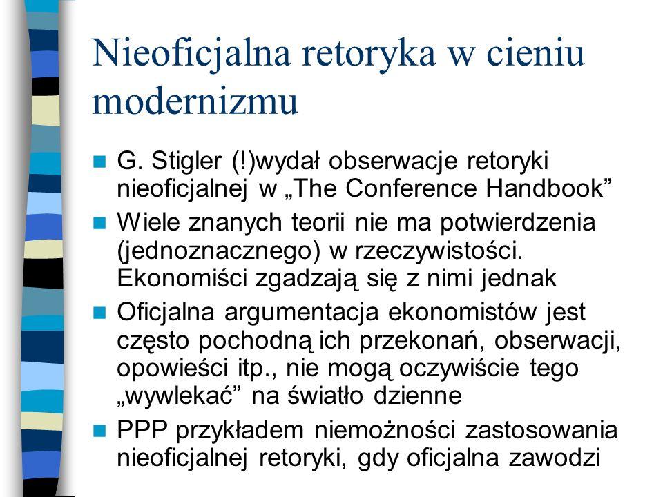 Nieoficjalna retoryka w cieniu modernizmu G. Stigler (!)wydał obserwacje retoryki nieoficjalnej w The Conference Handbook Wiele znanych teorii nie ma