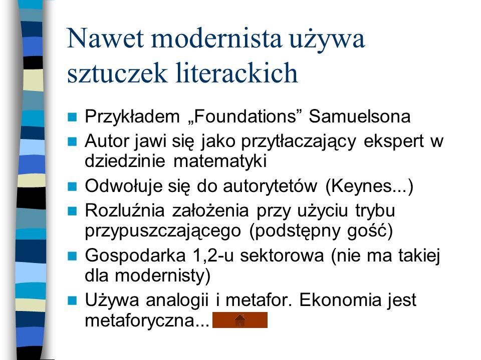 Nawet modernista używa sztuczek literackich Przykładem Foundations Samuelsona Autor jawi się jako przytłaczający ekspert w dziedzinie matematyki Odwoł