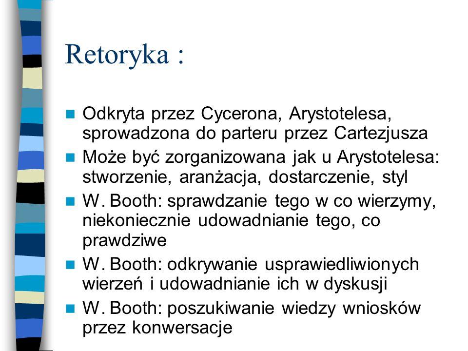 Retoryka : Odkryta przez Cycerona, Arystotelesa, sprowadzona do parteru przez Cartezjusza Może być zorganizowana jak u Arystotelesa: stworzenie, aranż