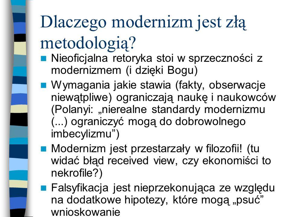 Dlaczego modernizm jest złą metodologią? Nieoficjalna retoryka stoi w sprzeczności z modernizmem (i dzięki Bogu) Wymagania jakie stawia (fakty, obserw