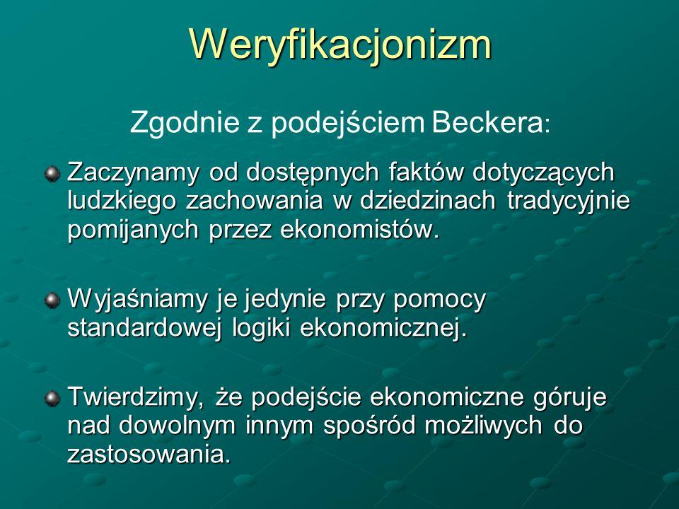 Weryfikacjonizm Zgodnie z podejściem Beckera : Zaczynamy od dostępnych faktów dotyczących ludzkiego zachowania w dziedzinach tradycyjnie pomijanych pr