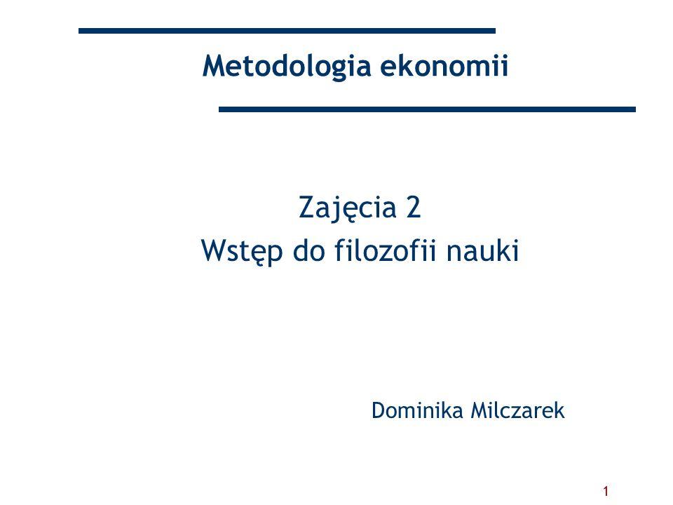 1 Metodologia ekonomii Zajęcia 2 Wstęp do filozofii nauki Dominika Milczarek