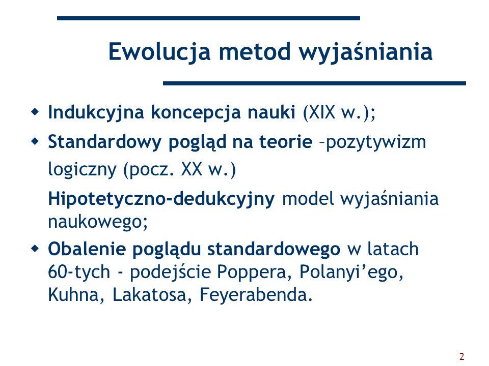 2 Ewolucja metod wyjaśniania Indukcyjna koncepcja nauki (XIX w.); Standardowy pogląd na teorie –pozytywizm logiczny (pocz. XX w.) Hipotetyczno-dedukcy
