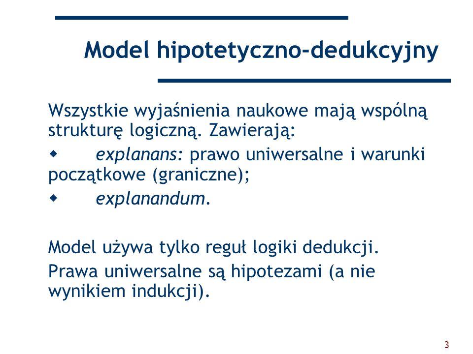 3 Model hipotetyczno-dedukcyjny Wszystkie wyjaśnienia naukowe mają wspólną strukturę logiczną. Zawierają: explanans: prawo uniwersalne i warunki począ