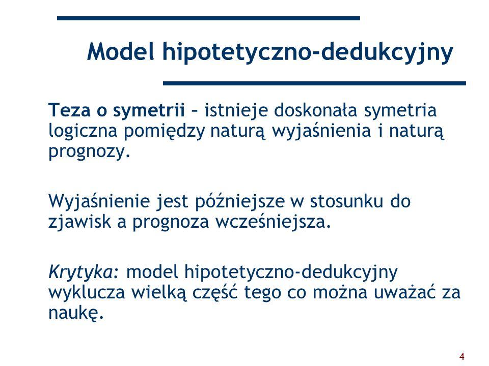 4 Model hipotetyczno-dedukcyjny Teza o symetrii – istnieje doskonała symetria logiczna pomiędzy naturą wyjaśnienia i naturą prognozy. Wyjaśnienie jest