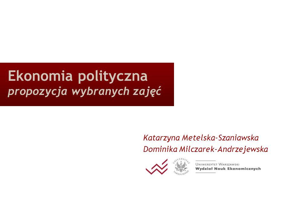 Zebranie Katedry Ekonomii Politycznej 20.05.2008 12 EP wzrostu i rozwoju gospodarczego zmienne instytucjonalne w badaniach empirycznych dotyczących wzrostu gospodarczego (Aron 2000) miary jakości instytucji (m.in.: zabezpieczenie umów i uprawnień własnościowych); miary jakości kapitału społecznego (m.in.: miara wolności obywatelskich); charakterystyki społeczne (m.in.: zróżnicowanie etniczne, napięcia narodowościowe); charakterystyki polityczne (m.in.: typ i trwanie reżimu politycznego); miary politycznej niestabilności.
