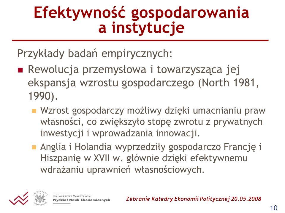Zebranie Katedry Ekonomii Politycznej 20.05.2008 10 Efektywność gospodarowania a instytucje Przykłady badań empirycznych: Rewolucja przemysłowa i towa