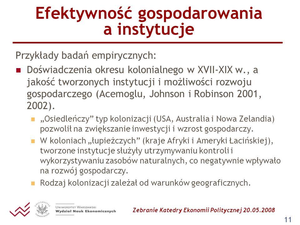 Zebranie Katedry Ekonomii Politycznej 20.05.2008 11 Efektywność gospodarowania a instytucje Przykłady badań empirycznych: Doświadczenia okresu kolonia