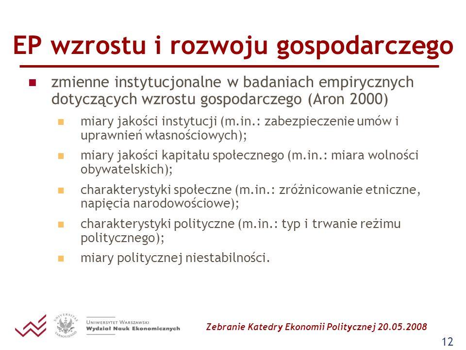 Zebranie Katedry Ekonomii Politycznej 20.05.2008 12 EP wzrostu i rozwoju gospodarczego zmienne instytucjonalne w badaniach empirycznych dotyczących wz