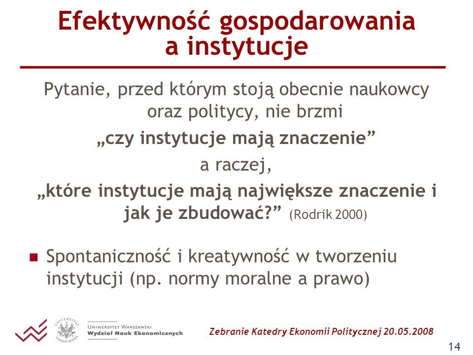 Zebranie Katedry Ekonomii Politycznej 20.05.2008 14 Efektywność gospodarowania a instytucje Pytanie, przed którym stoją obecnie naukowcy oraz politycy