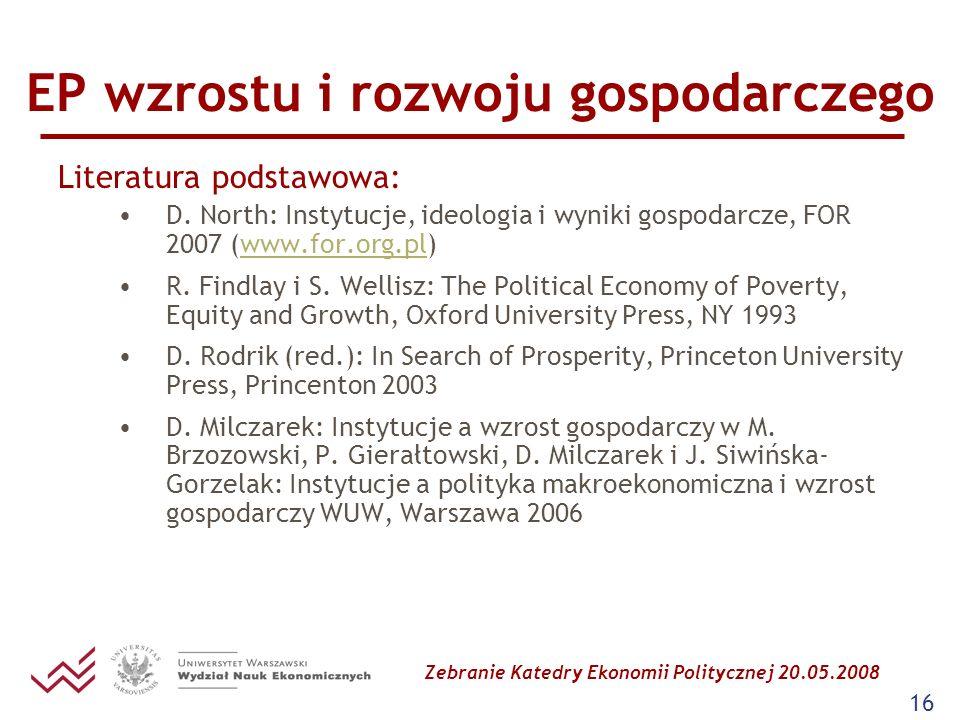 Zebranie Katedry Ekonomii Politycznej 20.05.2008 16 EP wzrostu i rozwoju gospodarczego Literatura podstawowa: D. North: Instytucje, ideologia i wyniki