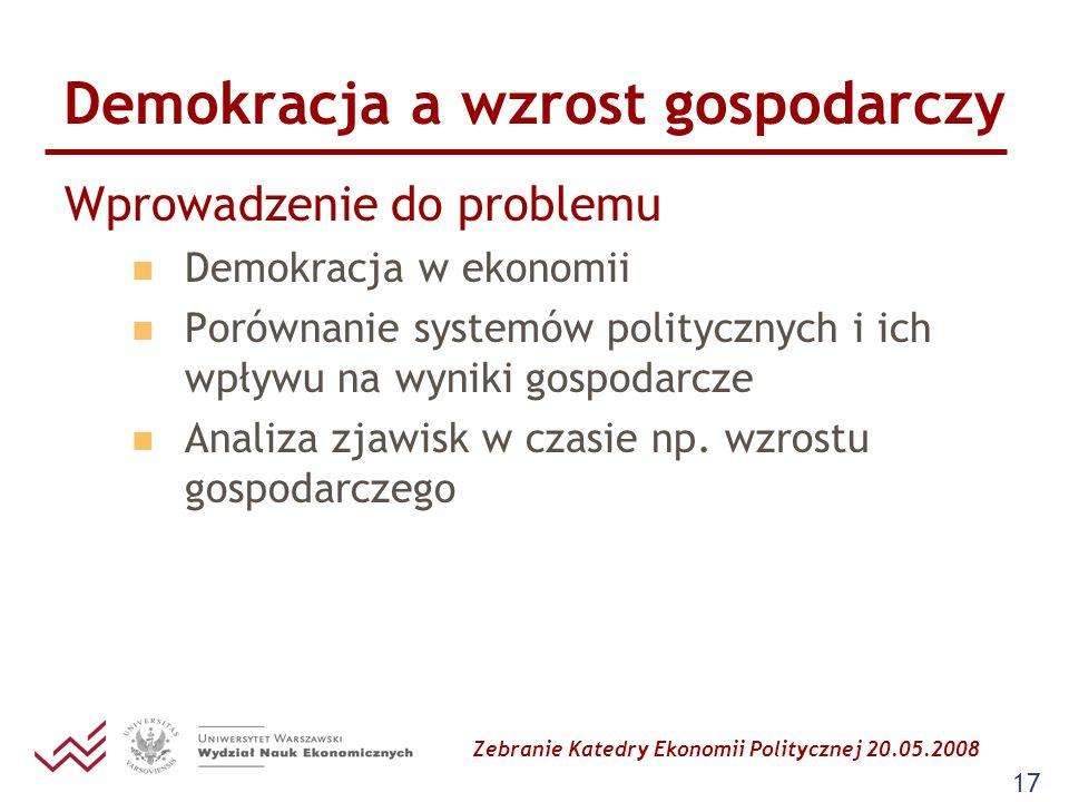 Zebranie Katedry Ekonomii Politycznej 20.05.2008 17 Demokracja a wzrost gospodarczy Wprowadzenie do problemu Demokracja w ekonomii Porównanie systemów