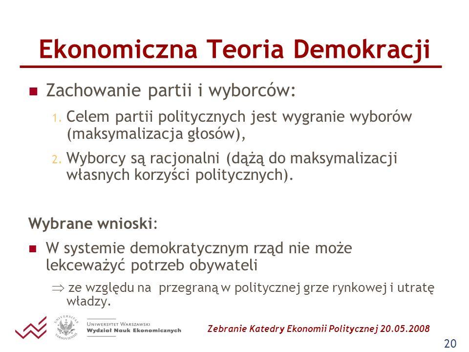 Zebranie Katedry Ekonomii Politycznej 20.05.2008 20 Ekonomiczna Teoria Demokracji Zachowanie partii i wyborców: 1. Celem partii politycznych jest wygr