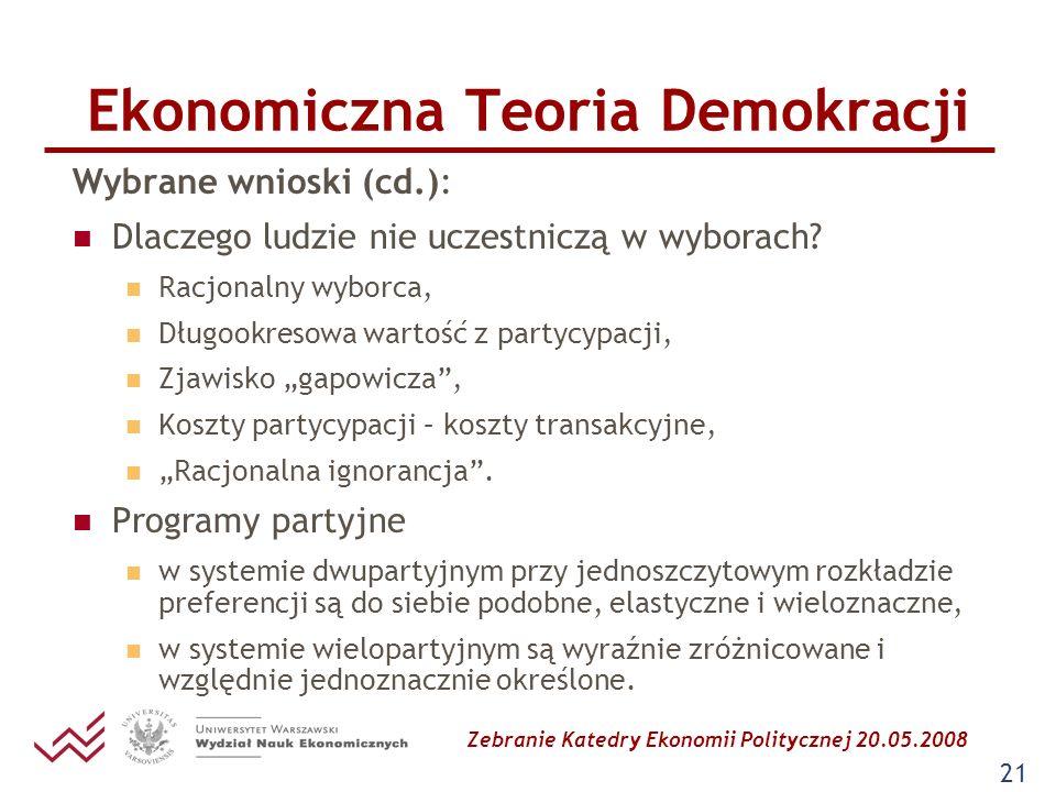 Zebranie Katedry Ekonomii Politycznej 20.05.2008 21 Ekonomiczna Teoria Demokracji Wybrane wnioski (cd.): Dlaczego ludzie nie uczestniczą w wyborach? R