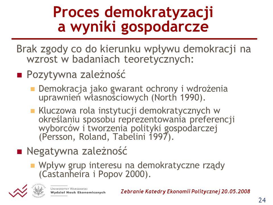 Zebranie Katedry Ekonomii Politycznej 20.05.2008 24 Proces demokratyzacji a wyniki gospodarcze Brak zgody co do kierunku wpływu demokracji na wzrost w