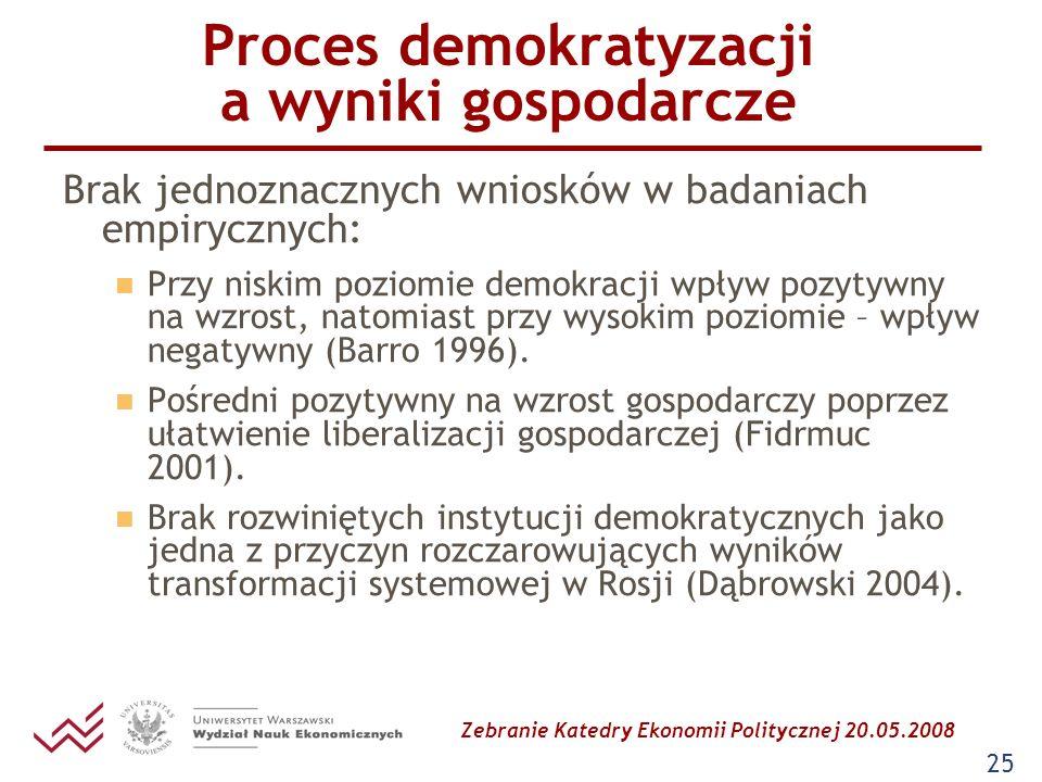 Zebranie Katedry Ekonomii Politycznej 20.05.2008 25 Proces demokratyzacji a wyniki gospodarcze Brak jednoznacznych wniosków w badaniach empirycznych:
