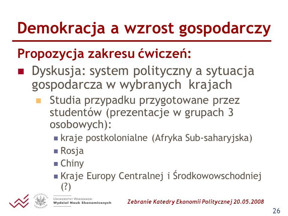 Zebranie Katedry Ekonomii Politycznej 20.05.2008 26 Demokracja a wzrost gospodarczy Propozycja zakresu ćwiczeń: Dyskusja: system polityczny a sytuacja