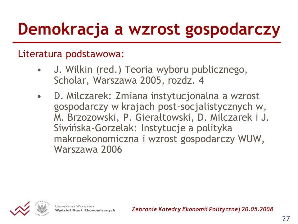Zebranie Katedry Ekonomii Politycznej 20.05.2008 27 Demokracja a wzrost gospodarczy Literatura podstawowa: J. Wilkin (red.) Teoria wyboru publicznego,