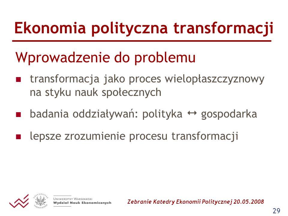 Zebranie Katedry Ekonomii Politycznej 20.05.2008 29 Ekonomia polityczna transformacji Wprowadzenie do problemu transformacja jako proces wielopłaszczy