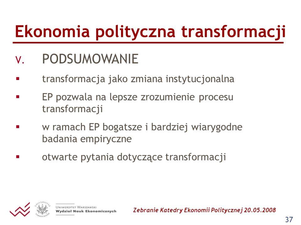 Zebranie Katedry Ekonomii Politycznej 20.05.2008 37 Ekonomia polityczna transformacji V. PODSUMOWANIE transformacja jako zmiana instytucjonalna EP poz