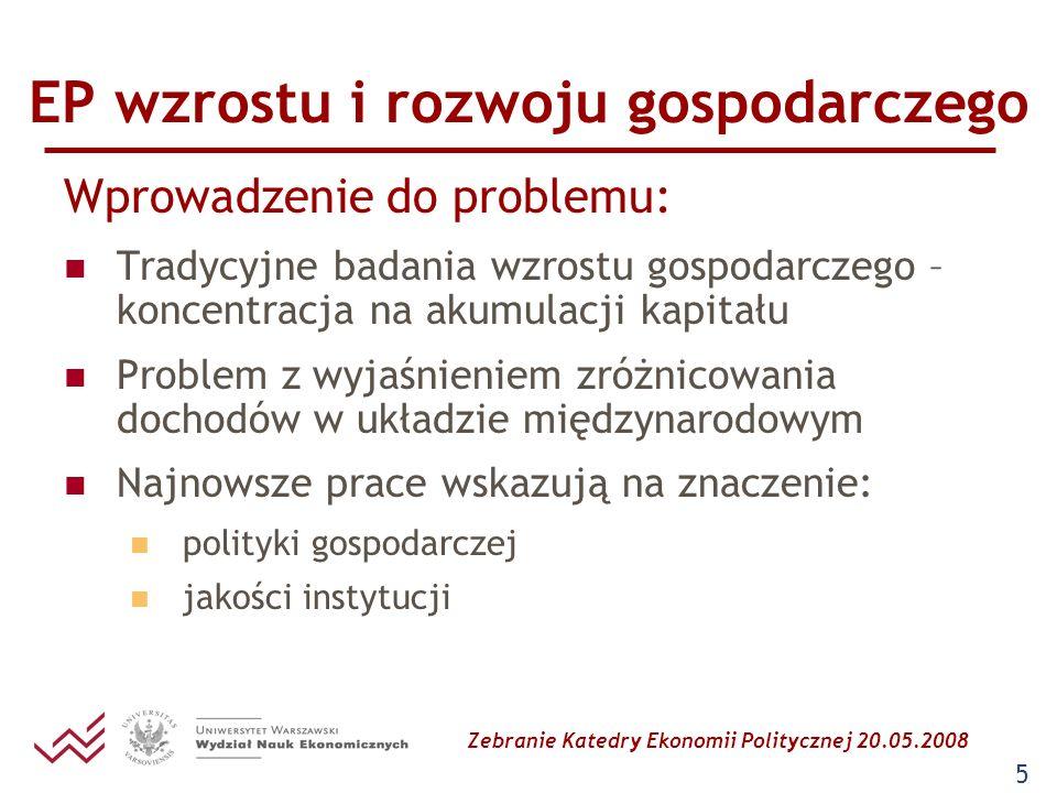 Zebranie Katedry Ekonomii Politycznej 20.05.2008 6 EP wzrostu i rozwoju gospodarczego Propozycja zakresu wykładu Ekonomiczne teorie wzrostu (przypomnienie podstaw z makroekonomii) Ekonomia polityczna wzrostu Międzynarodowa ekonomia polityczna Nowa ekonomia instytucjonalna