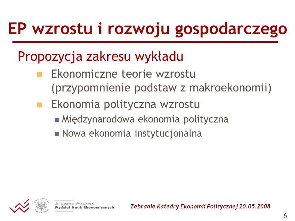 Zebranie Katedry Ekonomii Politycznej 20.05.2008 6 EP wzrostu i rozwoju gospodarczego Propozycja zakresu wykładu Ekonomiczne teorie wzrostu (przypomni