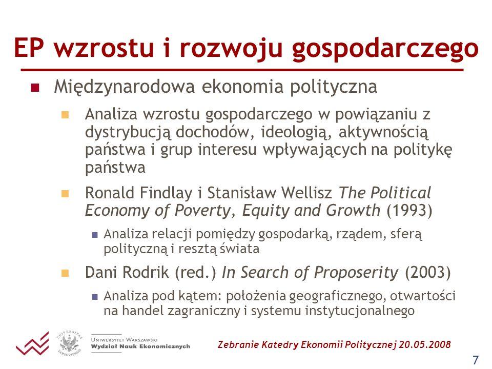Zebranie Katedry Ekonomii Politycznej 20.05.2008 7 EP wzrostu i rozwoju gospodarczego Międzynarodowa ekonomia polityczna Analiza wzrostu gospodarczego
