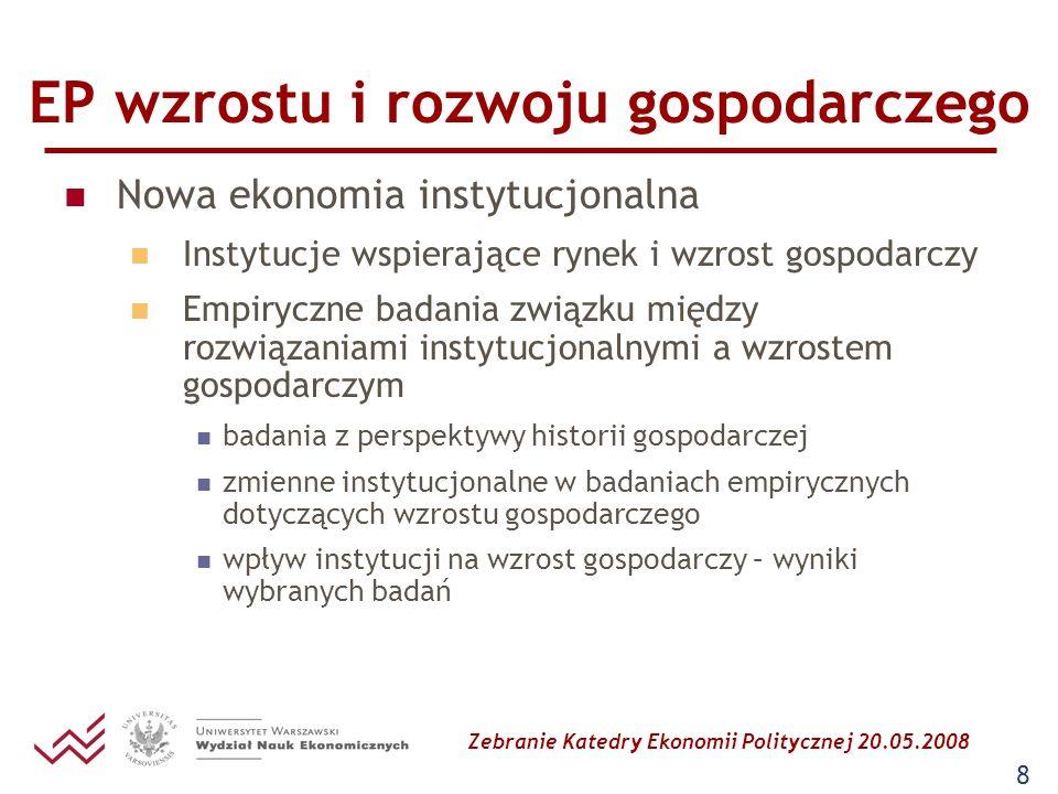 Zebranie Katedry Ekonomii Politycznej 20.05.2008 8 EP wzrostu i rozwoju gospodarczego Nowa ekonomia instytucjonalna Instytucje wspierające rynek i wzr
