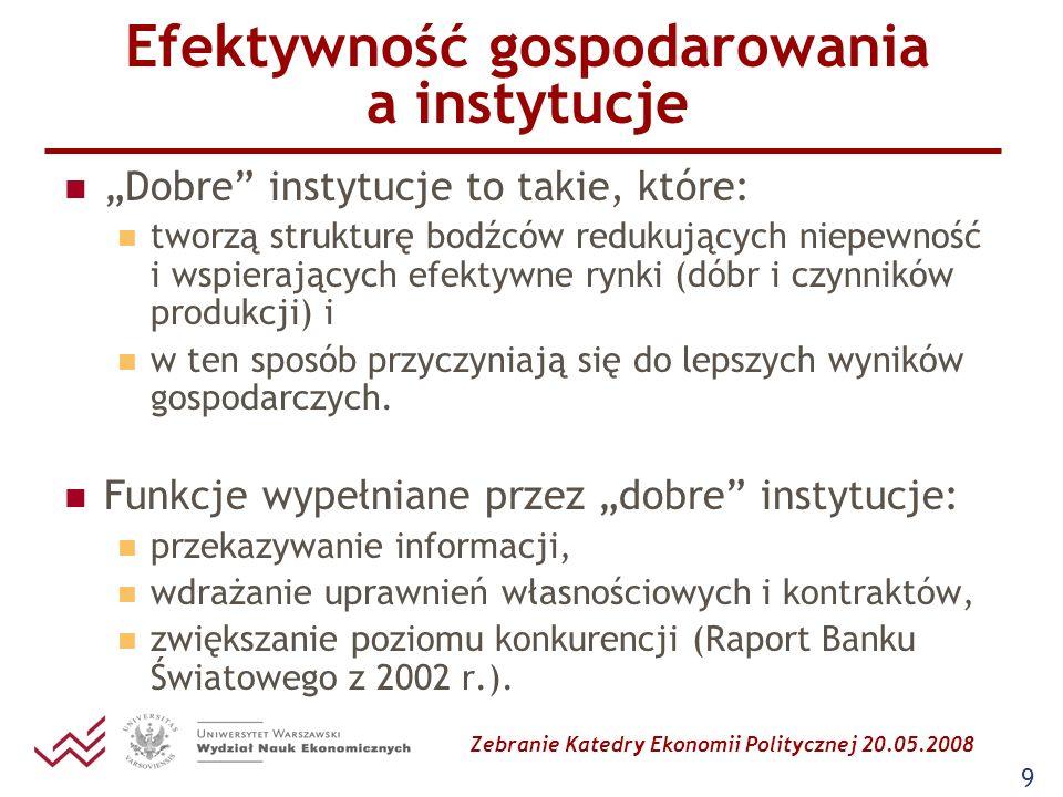Zebranie Katedry Ekonomii Politycznej 20.05.2008 9 Efektywność gospodarowania a instytucje Dobre instytucje to takie, które: tworzą strukturę bodźców