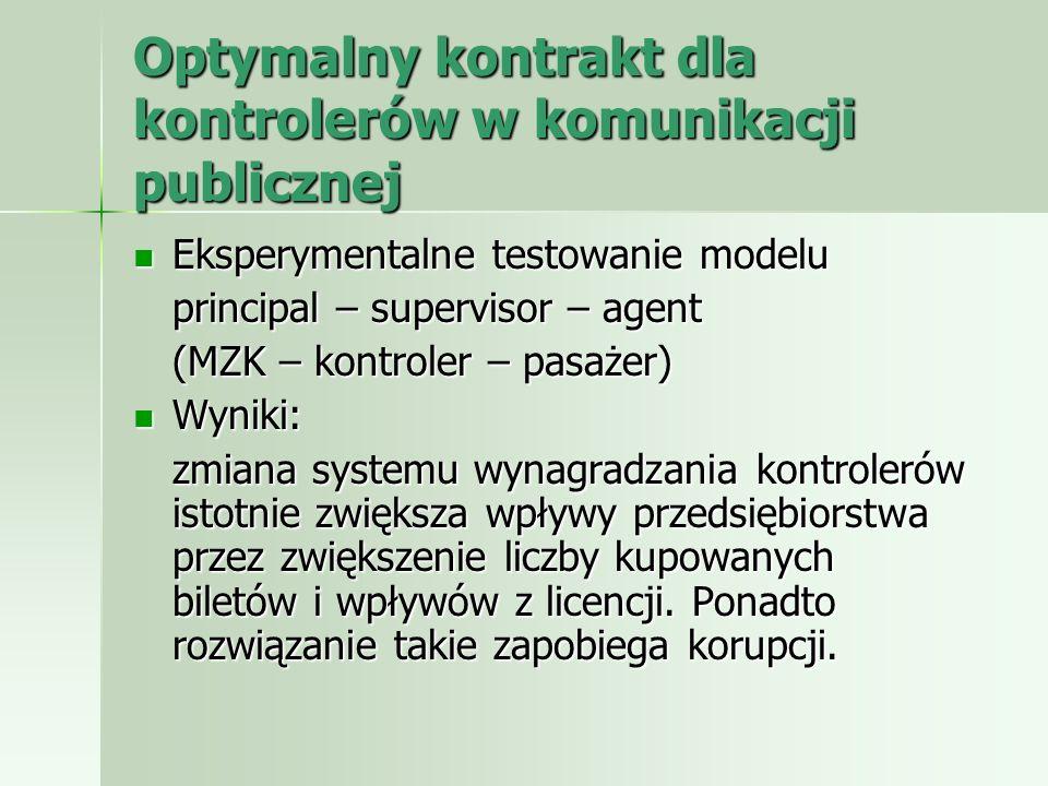 Optymalny kontrakt dla kontrolerów w komunikacji publicznej Eksperymentalne testowanie modelu Eksperymentalne testowanie modelu principal – supervisor