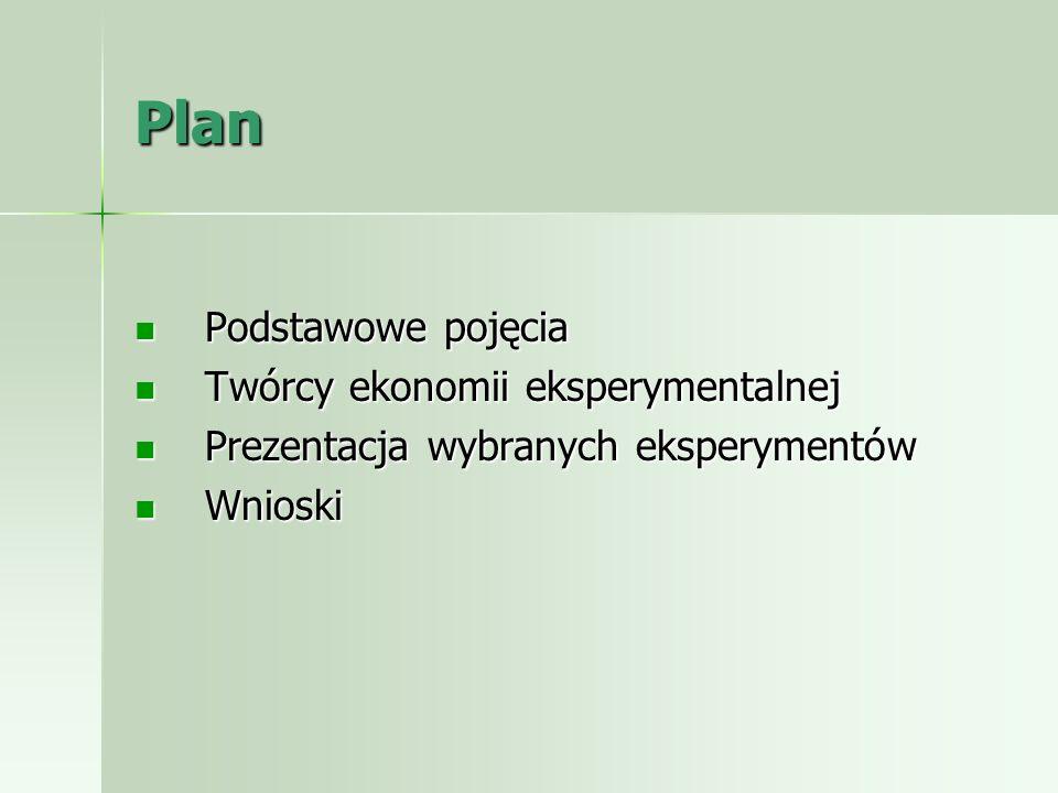Plan Podstawowe pojęcia Podstawowe pojęcia Twórcy ekonomii eksperymentalnej Twórcy ekonomii eksperymentalnej Prezentacja wybranych eksperymentów Preze